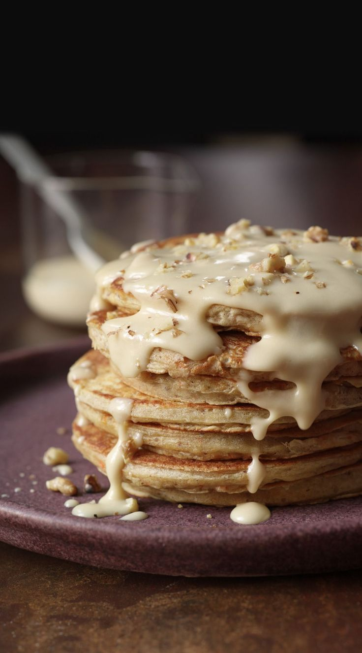 Carrot Cake Pancakes with Maple-Cream Cheese Drizzle and candied ginger. From 'Brunch @ Bobby's'