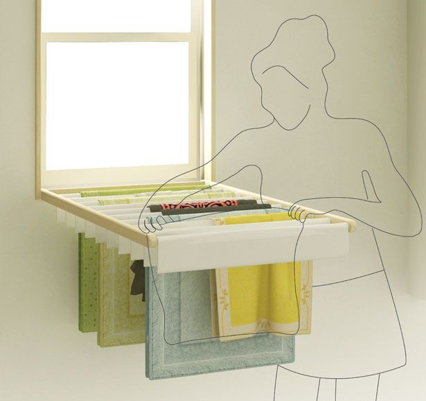 Blindry is a brilliant window blind that turns into a fold-down laundry rack for drying clothes indoors. Perfect for small apartments, where floor space is often too limited to accomodate drying racks, the item brings multi-functionality to the new level. No wonder its designers, Kim Bobin and Ko Kyungeun, were awarded the prestigious Red Dot award for the concept. It is also an eco-friendly idea to use air and sunlight for drying clothes instead of energy-draining machines.