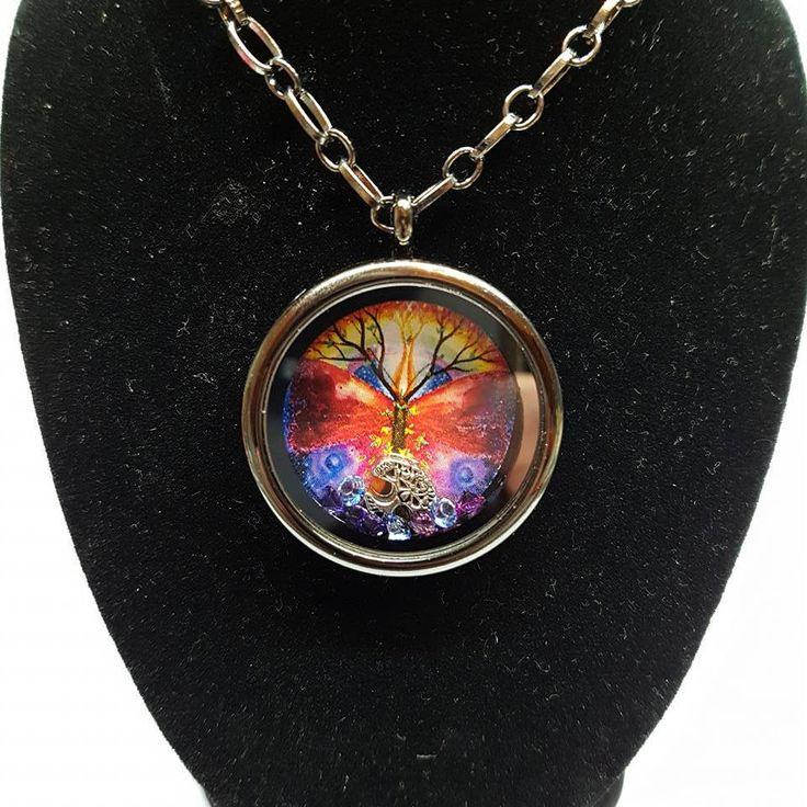 Tree of life mandala memory locket necklace with tree of life