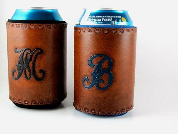 Monogrammed Leather Koozie Personalized Custom Made to Order on Etsy, $17.00