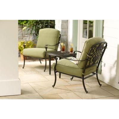 Hampton Bay Edington 3 Piece Patio Seating Set With Celery Cushions