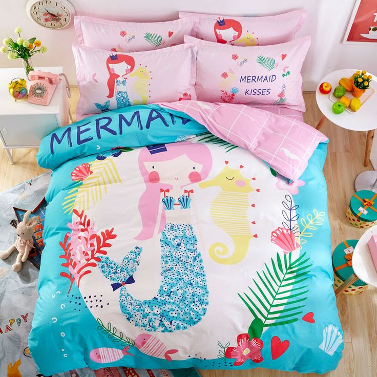 Mermaid Bedding Set Twin Single Size Quilt Cover Bedsheet