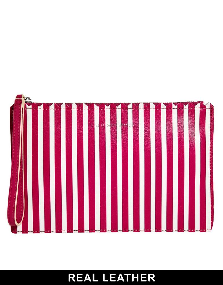 Lulu Guinness Pink and White Striped Leather Pouch
