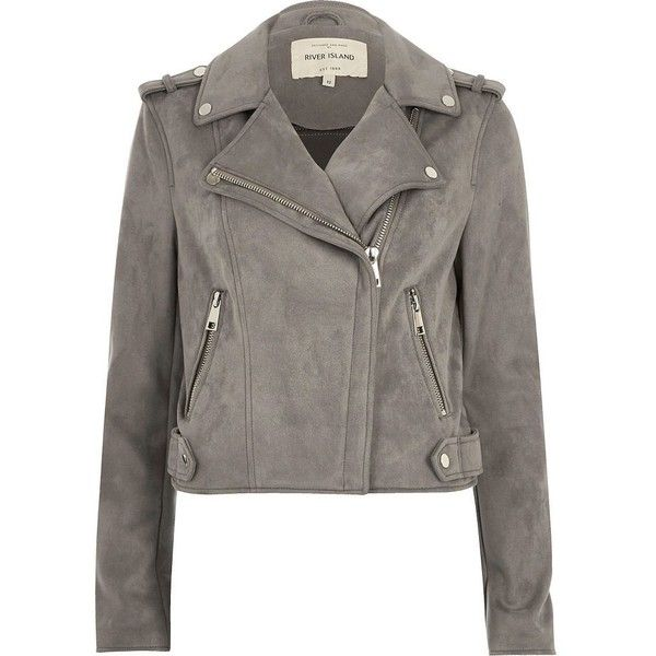 River Island Light grey faux suede scuba biker jacket (£55) ❤ liked on Polyvore featuring outerwear, jackets, grey, jakker, tall biker jacket, grey moto jacket, metallic jacket, rider jacket and faux suede moto jacket