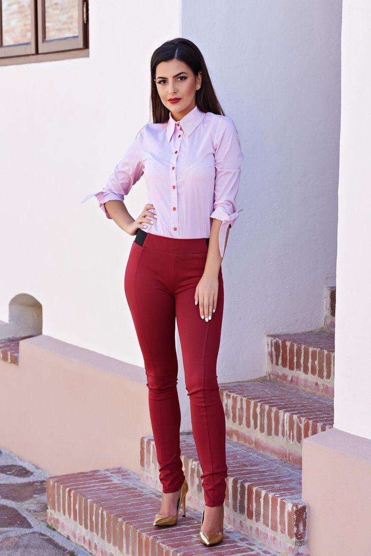 PrettyGirl Autumn Concept Burgundy Trousers, form-fitting, elastic waist…