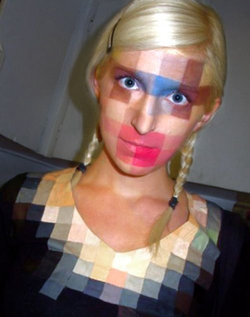 Pixelated make-up and shirt. #costume #makeup #pixels #pixelation