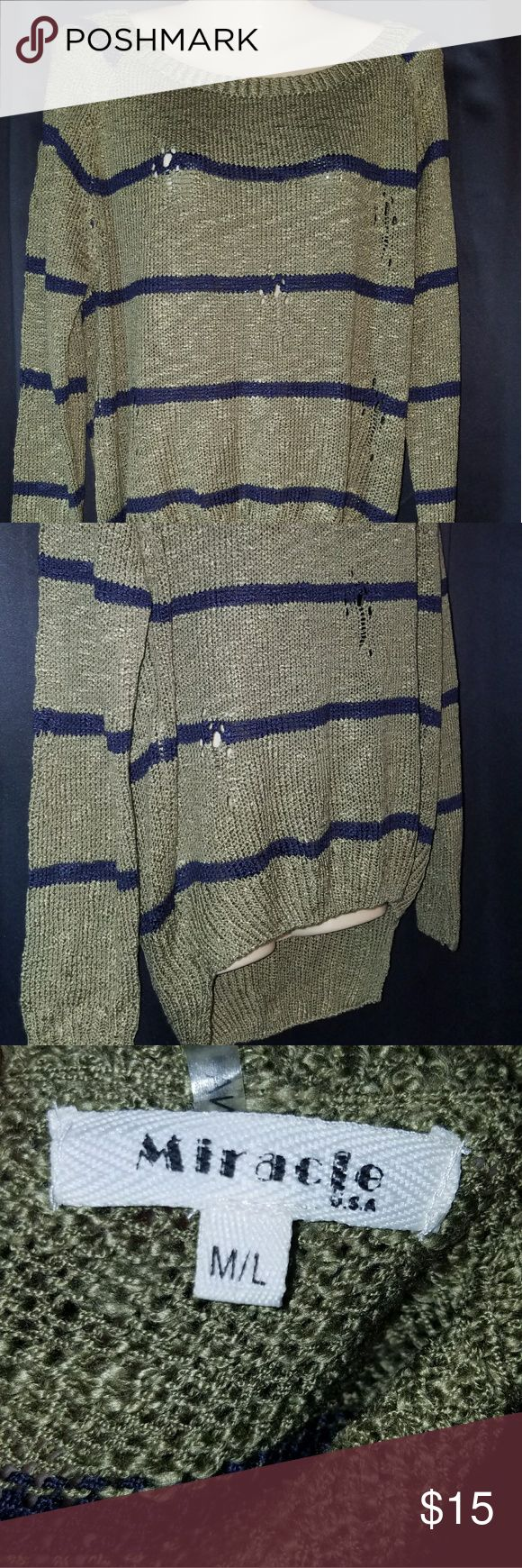 Destroyed Stripped Sweater. Never worn, from Apricot Lane.  Hi-Low size M/L Apricot Lane Sweaters Crew & Scoop Necks