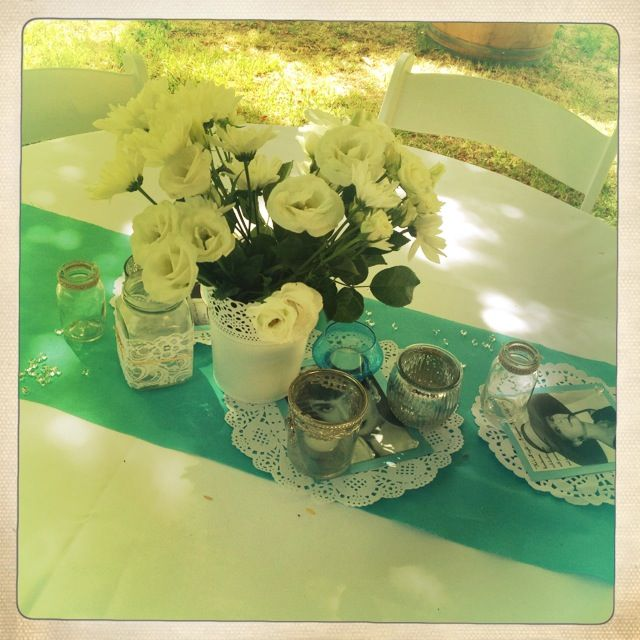 Breakfast @ Tiffany's Themed Hen's Party - Audrey Prints/Quotes - Doiley DIY Crafts - Table Decorations - Mercury Glass - Lace - Jars