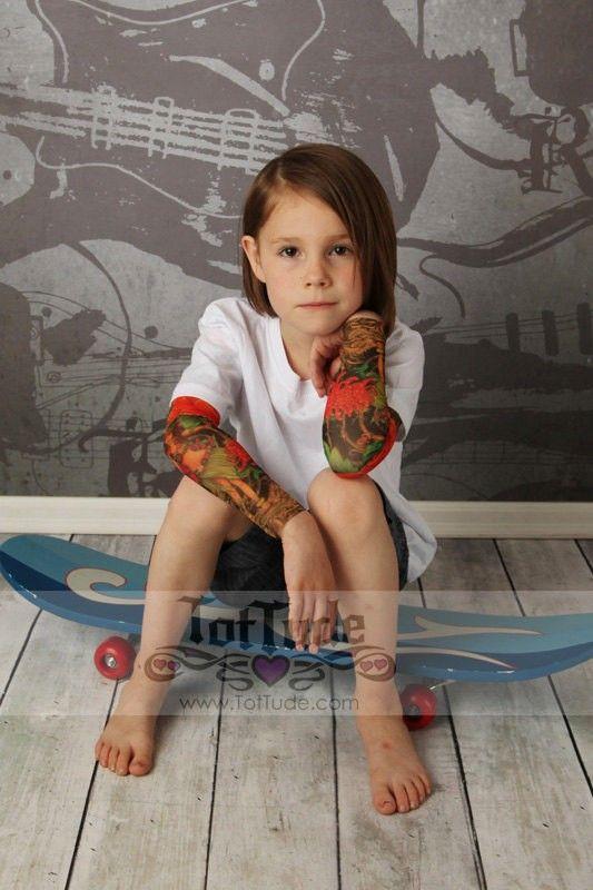White Bodysuit Onesie Hula Flower Tattoo Sleeve Shirt for Babies