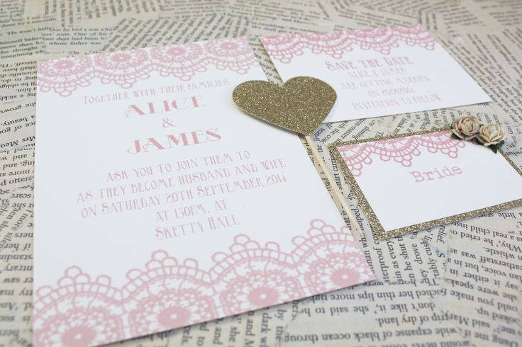 1920's inspired lace invitation, save the date and place setting. www.paperwedding.co.uk Photographs by Michelle Huggleston Photography.