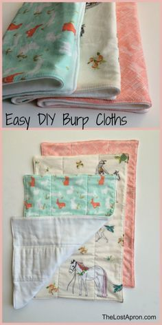 These burp cloths are quick and easy to make. They are great for your baby, to give to a new mom, or as a simple baby shower gift. They are made with a cloth diaper on one side and fun fabrics on the other side. Make a set in a variety of fabrics. The Lost Apron