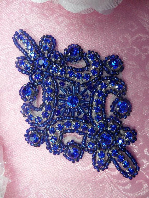 JB115 Blue Applique Crystal Rhinestone Blue Beaded by gloryshouse, $6.99