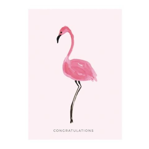 Flamingo greeting card by NUNUCO® #nunucodesign