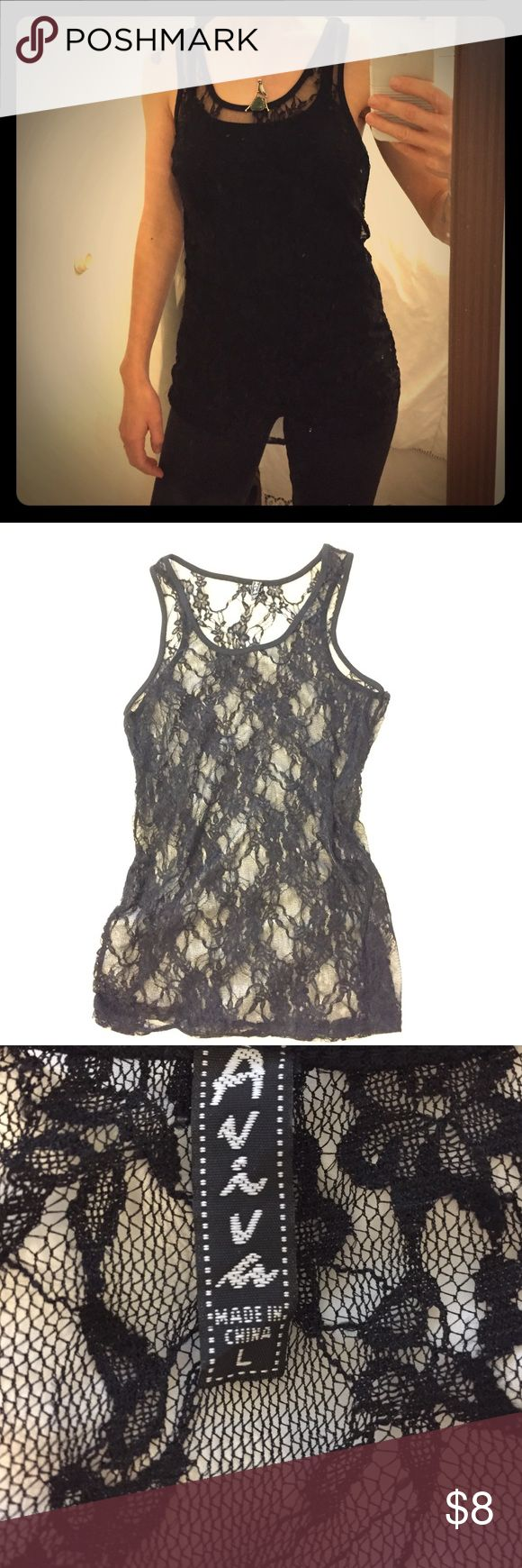 Lace tank top Sexy black lace tank top. Pairs well with Jena or a cute skirt. Great used condition. Tops Tank Tops