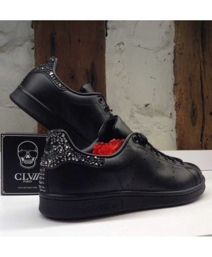acheter populaire b1692 4ee54 Adidas Stan Smith Paillette Crystal All Black Trainers Sale ...