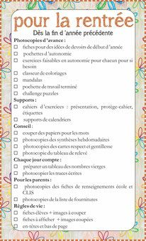 To-do list pour agenda - Fiches de préparations (cycle1-cycle 2-CLIS)