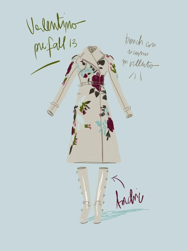 Trench con ricami, Valentino pre-fall 13.   Open Toe, fashion illustrated - Opentoeillustration.com