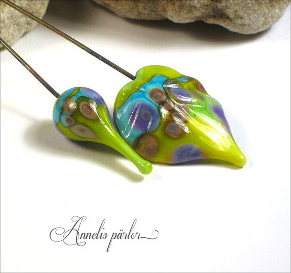 Handmade lampwork glass headpins lampwork headpins by Annelibeads