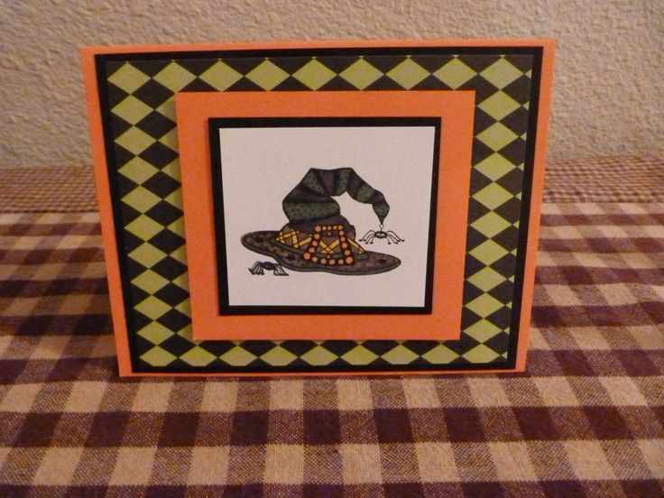 Halloween Card Making Ideas Part - 40: Handmade Halloween Card Folk Art Witches Hat By HandMadeInCary, $3.00