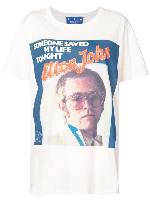 2334d00726a2 Shop Gucci Elton John print T-shirt   99 in 2019   Elton john shirt ...