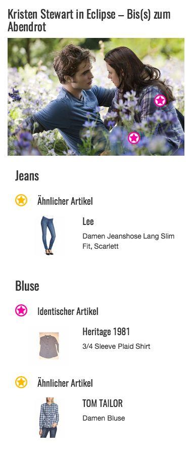 Bella Swan (gespielt von Kristen Stewart) scheint sich mit ihrem Outfit fabrlich auf die Umgebung abgestimmt zu haben. Ihr lila Flanellhemd harmoniert mit den blauen und violetten Blumen auf der Lichtung, was ihren Look toll in Szene setzt.