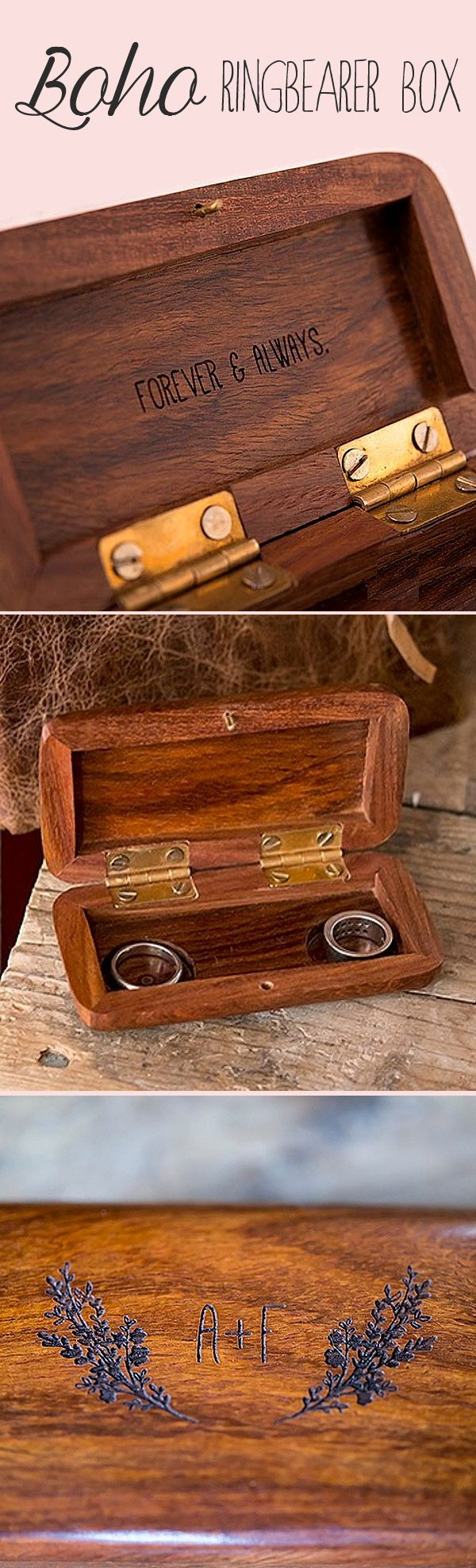 This his and hers carved wood ring box personalized with the bride and groom's initials is perfect for a romantic Boho woodland wedding ceremony. A rustic alternative to traditional ring pillows, this beautiful pocket-size ring box will be a treasured wedding souvenir that can be passed down for generations to come. This box can be ordered at http://myweddingreceptionideas.com/garland-surround-carved-initials-pocket-ring-box.asp