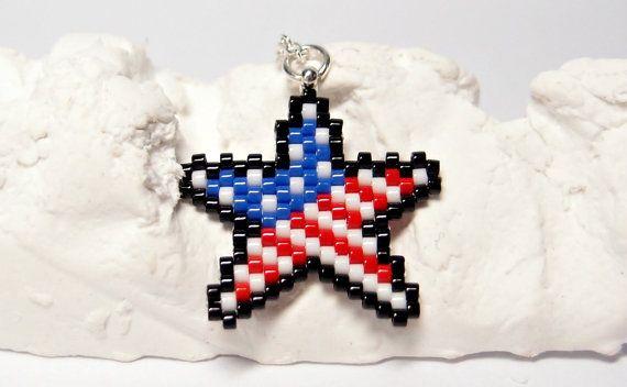 Drapeau américain Star collier bijoux patriotique par BeadCrumbs
