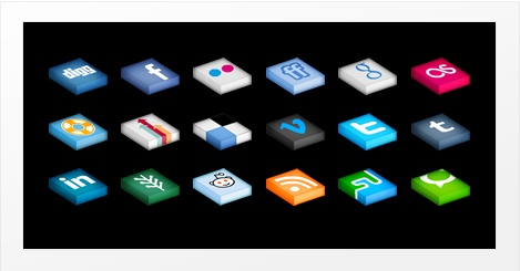 Isometrica, isometric social media icons »  Prachtige set met social media iconen die vooral op een zwarte achtergrond heel sprekend zijn. Deze set kun je downloaden in zowel .PNG formaat als in .EPS. Daardoor zijn alle resoluties mogelijk!