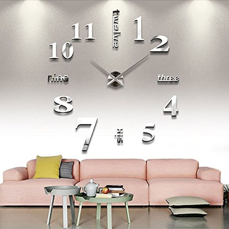 Extra Large Wall Clock Modern House Office 3D Decor Silver Round Glamour Silent in Home, Furniture & DIY, Clocks, Wall Clocks | eBay