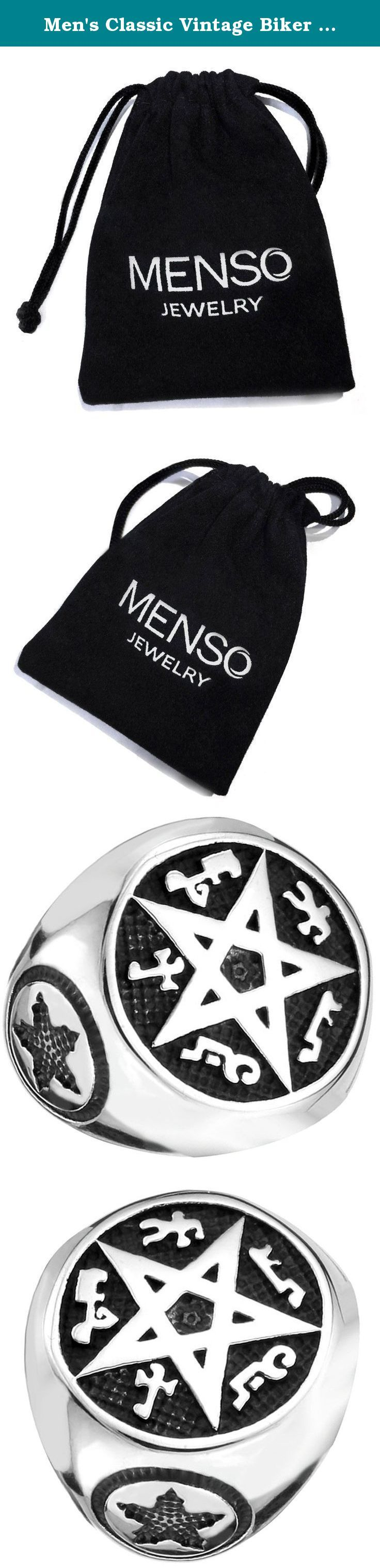 Men's Classic Vintage Biker Pentacle Pentagram Round Signet Gothic Stainless Steel Ring Band Silver Black Size 9. MENSO - High quality Jewelry Discover the MENSO Collection of jewelry. The selection of high-quality jewelry featured in the MENSO Collection offers Great values at affordable Price, they mainly made of high quality Stainless Steel, Tungsten, Silver and Leather. We uphold the highest standard of integrity,professionalism and customer service. In addition to unique...