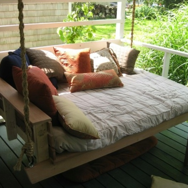 hanging porch bed (but under my flower covered pergola)  ON COVERED PORCH