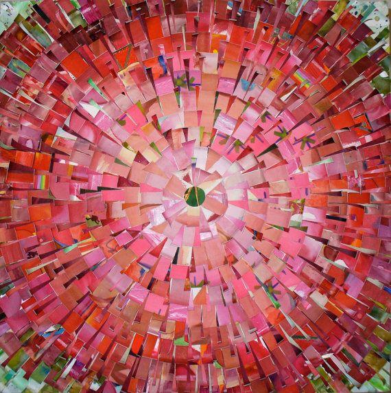 "RED MUM - 20""x20"" recycled art mandala op Etsy"