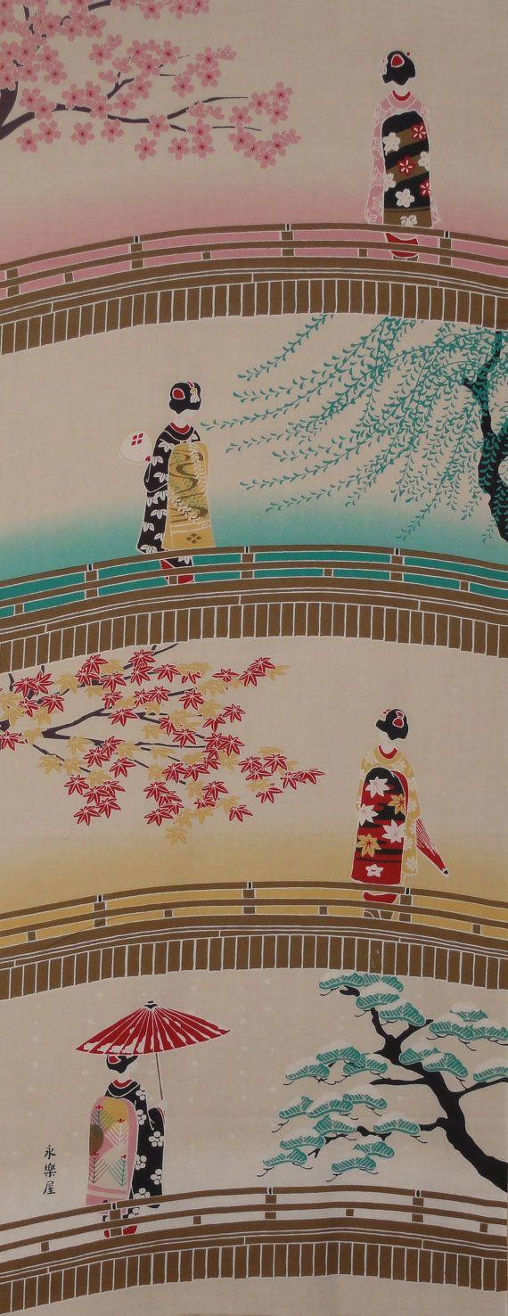 Maiko-san and the Seasons Tenugui Japanese Fabric w/Free Insured Shipping