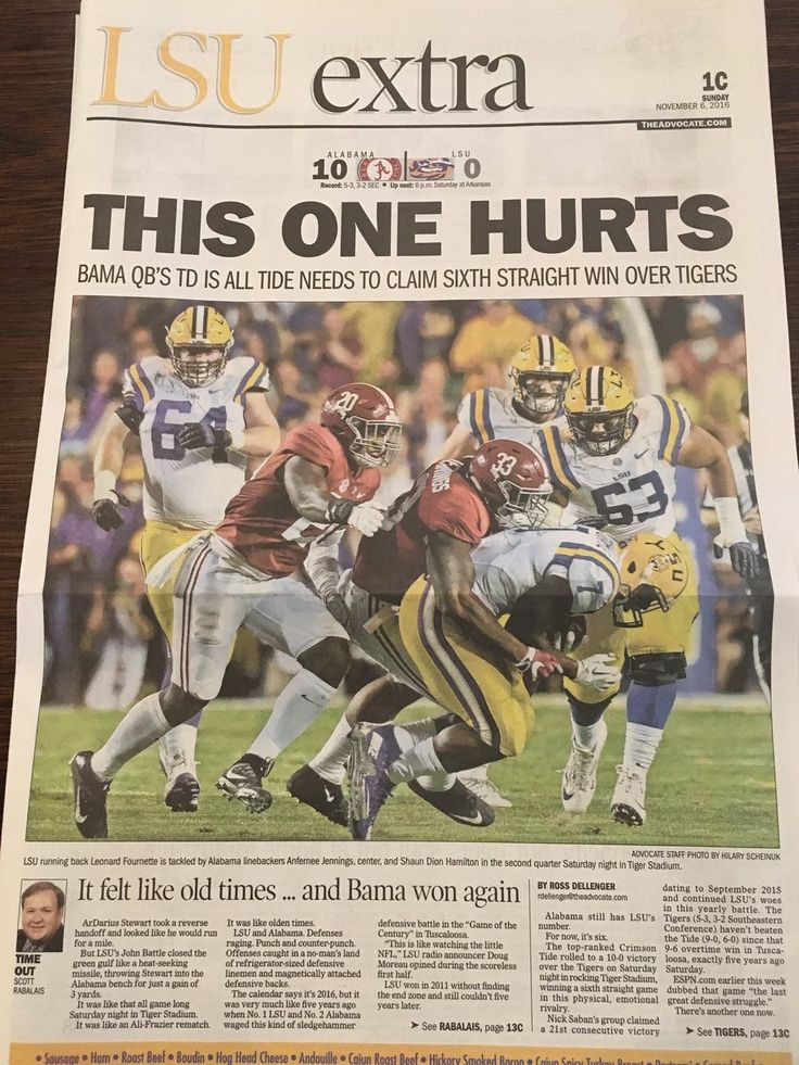 THIS ONE HURTS - from The New Orleans Advocate Sports page following Alabama's 10 - 0 shutout of LSU #Alabama #RollTide #Bama #BuiltByBama #RTR #CrimsonTide #RammerJammer #BAMAvsLSU