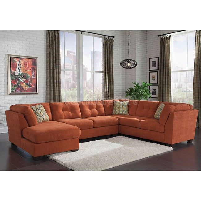 Delta City Rust Left Chaise Sectional Big Family Think