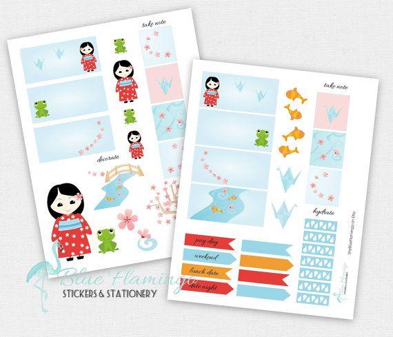 Japanese Garden Planner Stickers  Cherry by ShyBlueFlamingo