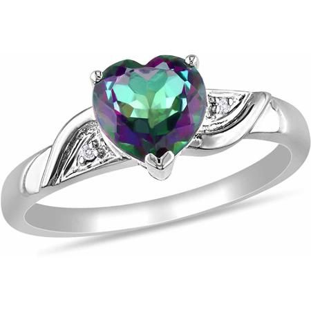 1-3/8 Carat T.G.W. Exotic Green Topaz and Diamond-Accent 10kt White Gold Heart Ring - Walmart.com