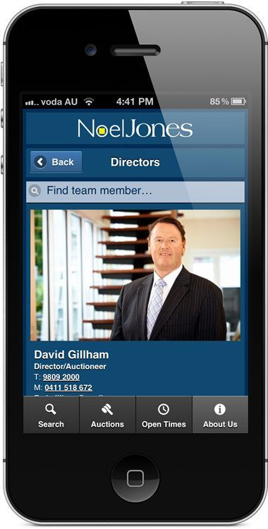 noeljones.com.au - mobile website - staff details.