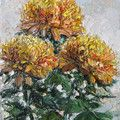 желтые цветы мастихином
