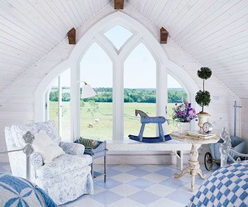 Country Cottages, Buildings Ideas, Gothic Windows, Attic Spaces, Little Boys Room, Decorating Ideas, Dreams House, Dreams Spaces, Country Attic Bedrooms
