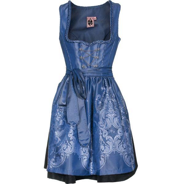 German Princess Shimmer Blue Dirndl Dress With Apron ($425) ❤ liked on Polyvore