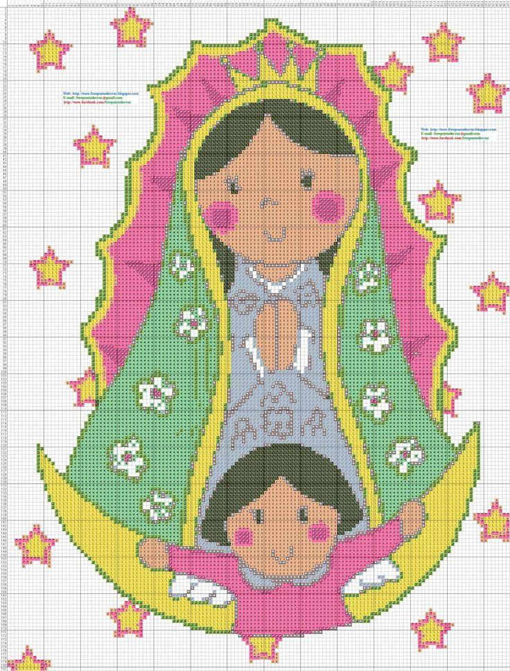 Dibujos Punto de Cruz Gratis: Virgen de Guadalupe Animada - Punto de cruz