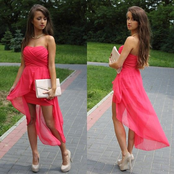 So pretty: High Low Dresses, Fashion, Pink Dresses, Style, Highlow, Color, Bridesmaid Dresses, The Dresses, Chiffon Dresses