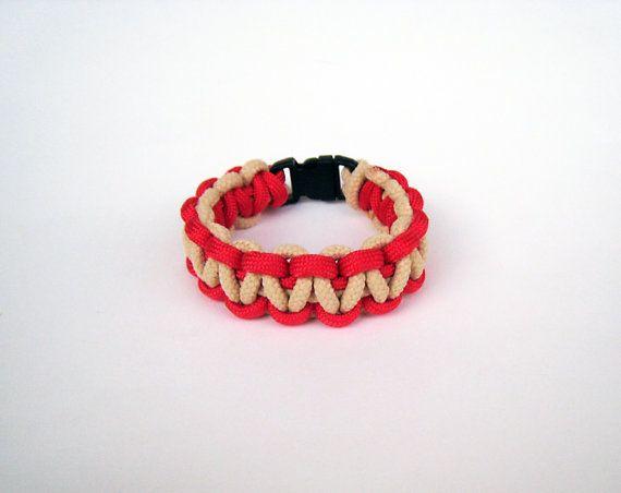 Paracord bracelet red beige sand men unisex by stamparacord