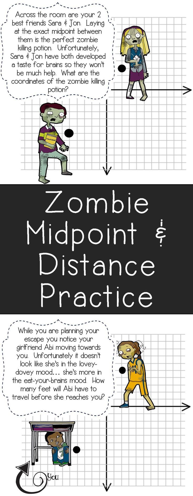 my students will love this zombie themed midpoint distance formula practice this would be a. Black Bedroom Furniture Sets. Home Design Ideas