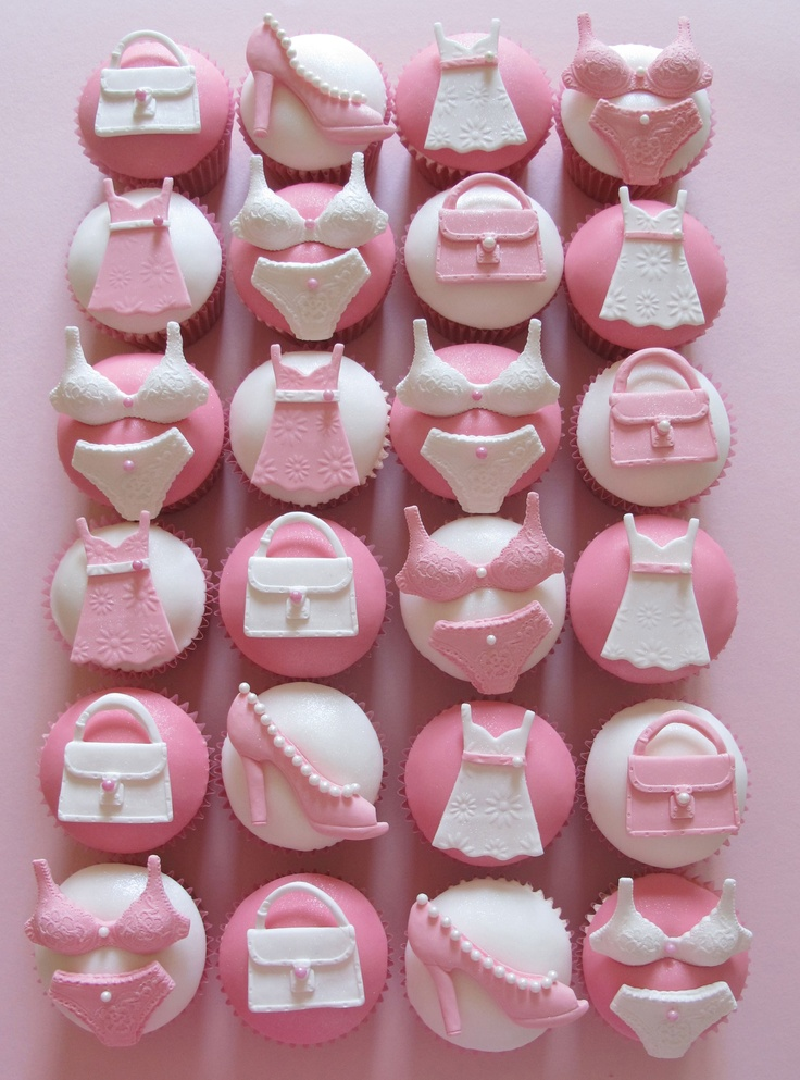 Cupcakes- cute, maybe minus the purse, plus a martini glass or ring...