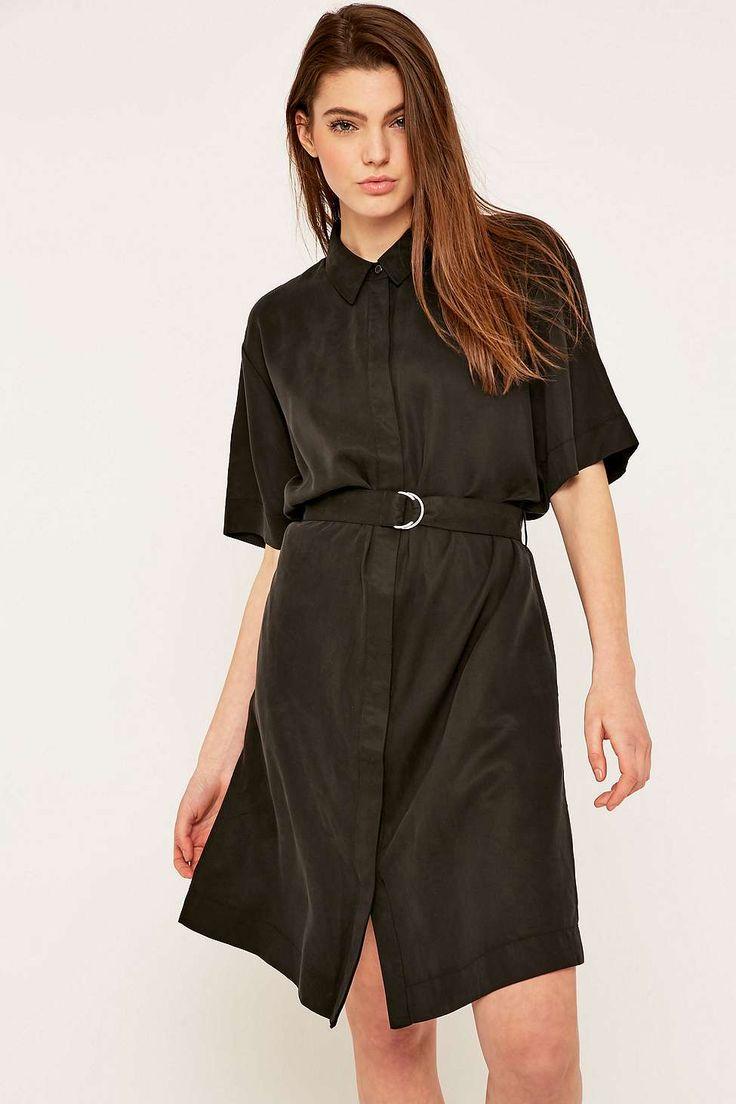 ADPT. - Robe chemise noire à ceinture