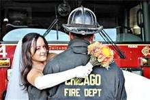 Firefighter Wedding Ideas, his head turned for a kiss shot instead