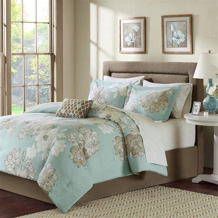Avalon Blue by Madison Park will transport you to a tropical retreat instantly. The grand floral featured on the Avalon is spectacular as it covers the comforter and matching pillow shams. A tailored bedskirt and decorative cushion complete the bed beautifully. The charming printed sheet set adds an additional pattern for completely coordinated appeal. The Avalon collection is available in Twin through California King size sets. Bedding sets include comforter, pillow sham (s), bedskirt, flat…