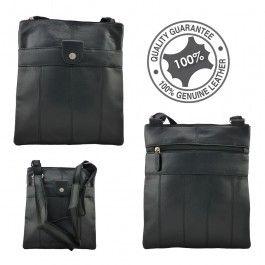 Full Grain Genuine Soft Sheep Skin Leather Sling Bag Large Black LB55668